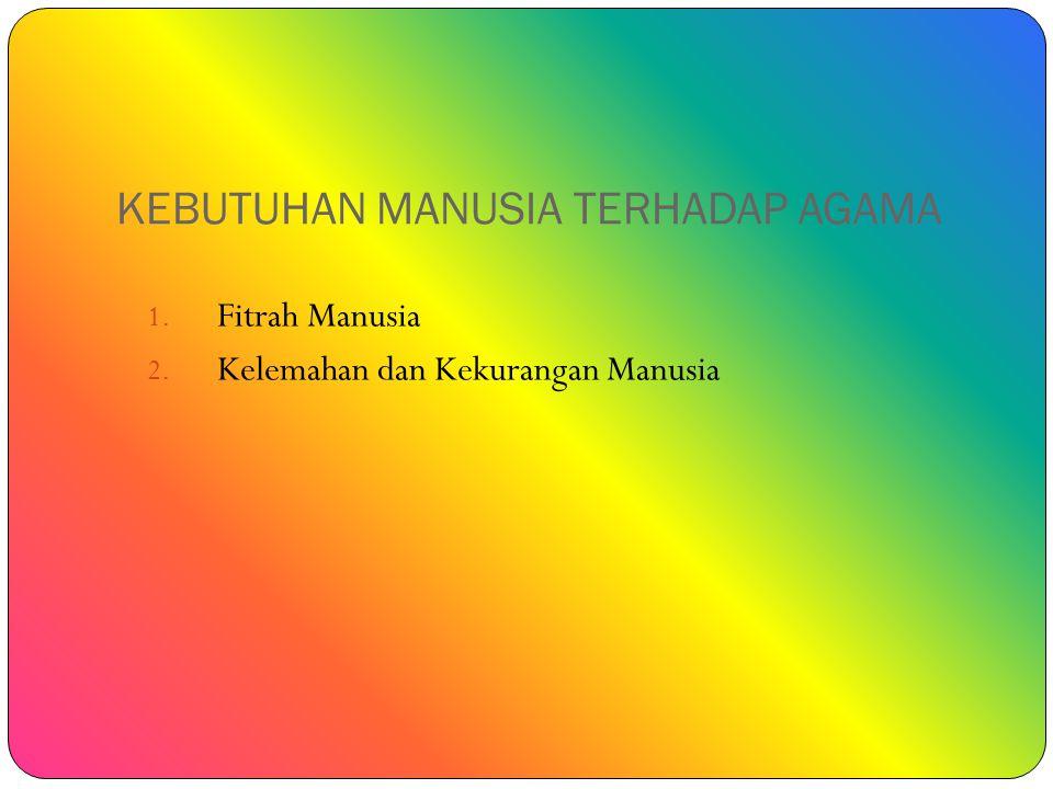 KEBUTUHAN MANUSIA TERHADAP AGAMA 1. Fitrah Manusia 2. Kelemahan dan Kekurangan Manusia
