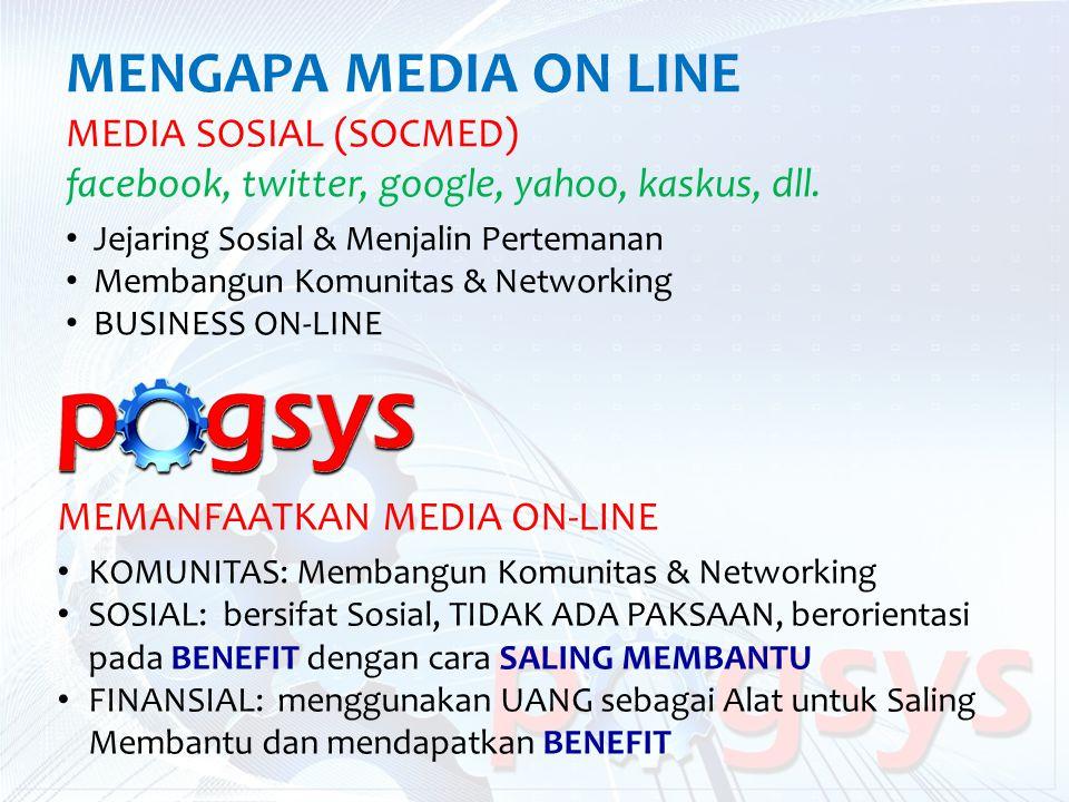 MENGAPA MEDIA ON LINE MEDIA SOSIAL (SOCMED) facebook, twitter, google, yahoo, kaskus, dll. Jejaring Sosial & Menjalin Pertemanan Membangun Komunitas &