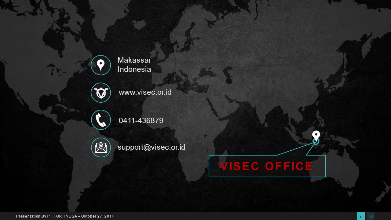 682 Presentation By PT.FORTINUSA  Oktober 27, 2014 Makassar Indonesia 0411-436879 www.visec.or.idsupport@visec.or.id VISEC OFFICE
