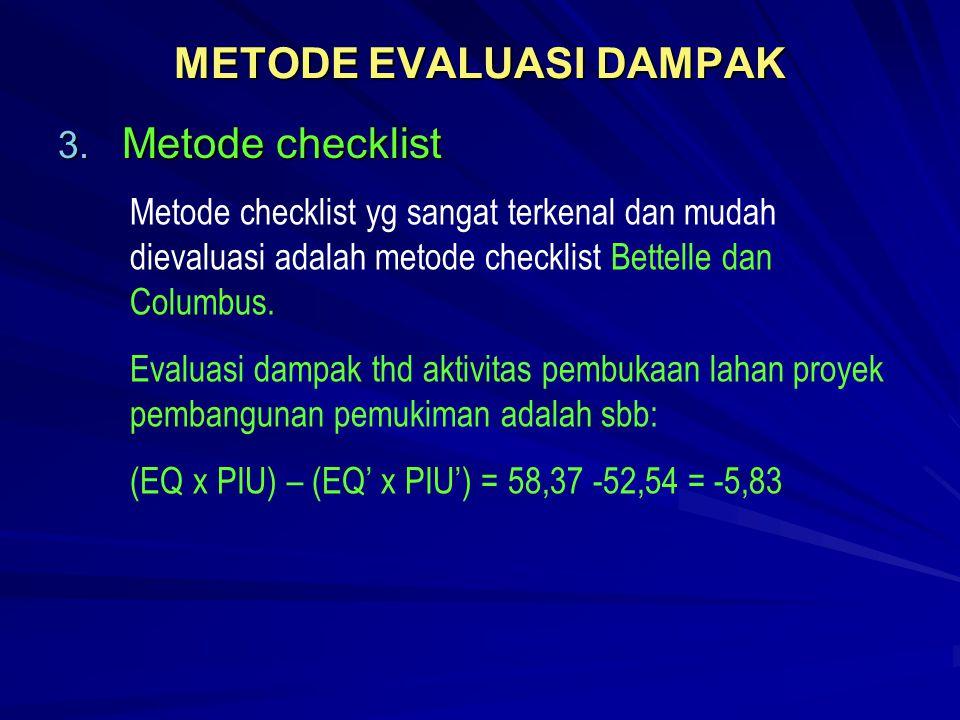 METODE EVALUASI DAMPAK 3. Metode checklist Metode checklist yg sangat terkenal dan mudah dievaluasi adalah metode checklist Bettelle dan Columbus. Eva