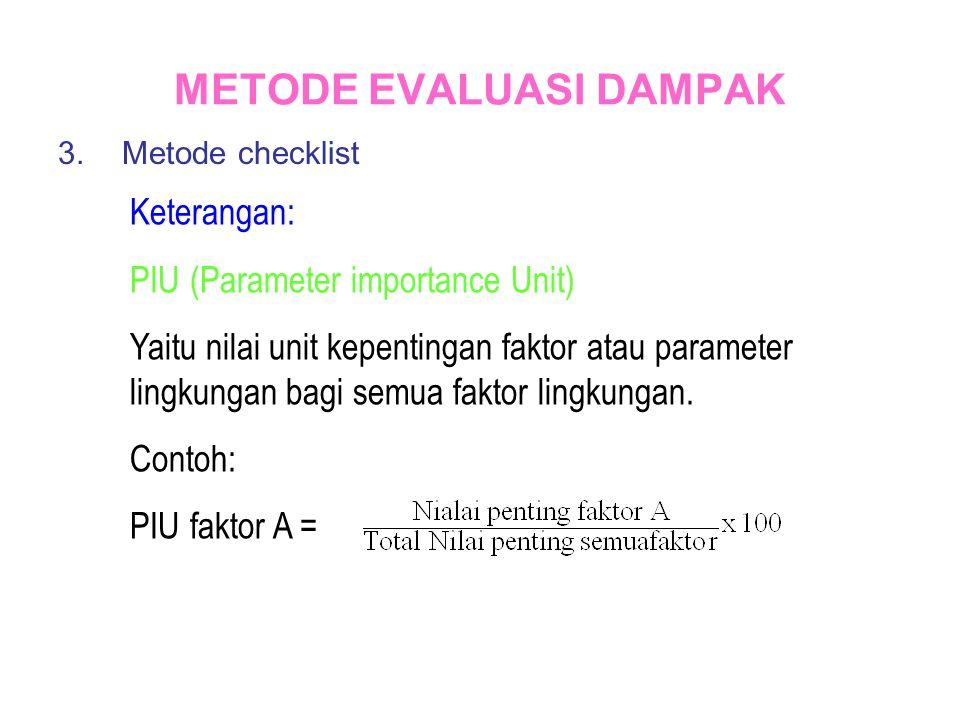 METODE EVALUASI DAMPAK 3.Metode checklist Keterangan: PIU (Parameter importance Unit) Yaitu nilai unit kepentingan faktor atau parameter lingkungan ba