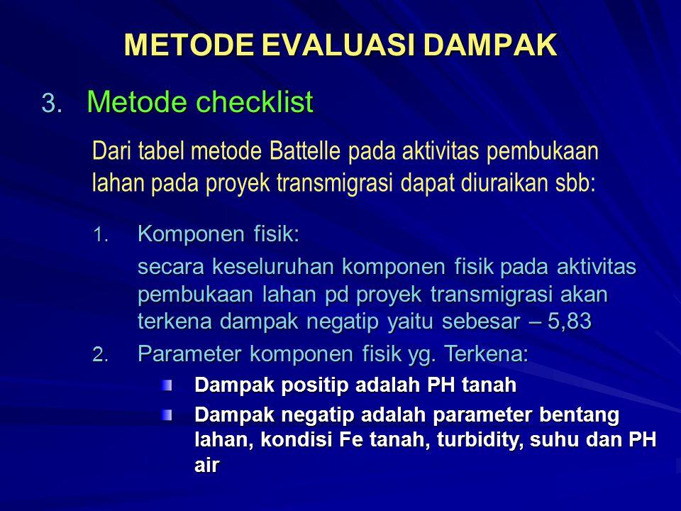 METODE EVALUASI DAMPAK 3. Metode checklist Dari tabel metode Battelle pada aktivitas pembukaan lahan pada proyek transmigrasi dapat diuraikan sbb: 1.