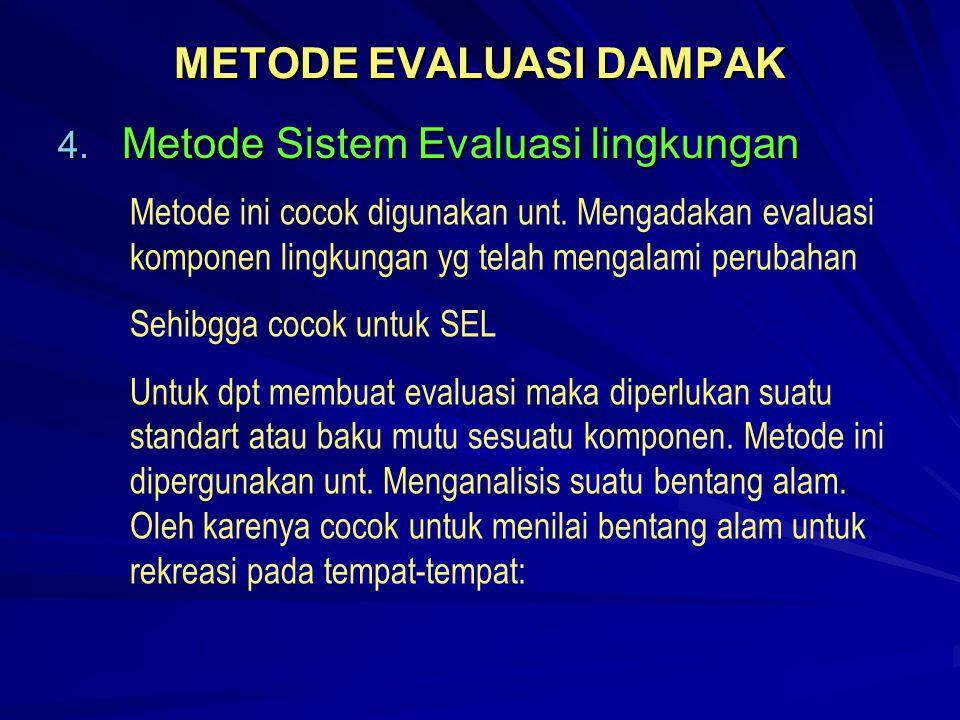 METODE EVALUASI DAMPAK 4. Metode Sistem Evaluasi lingkungan Metode ini cocok digunakan unt. Mengadakan evaluasi komponen lingkungan yg telah mengalami