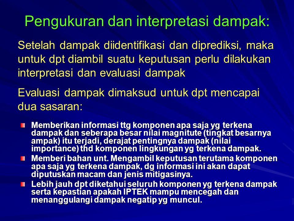 Pengukuran dan interpretasi dampak: Memberikan informasi ttg komponen apa saja yg terkena dampak dan seberapa besar nilai magnitute (tingkat besarnya