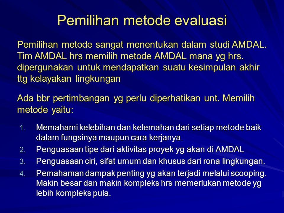 Pemilihan metode evaluasi 1. Memahami kelebihan dan kelemahan dari setiap metode baik dalam fungsinya maupun cara kerjanya. 2. Penguasaan tipe dari ak