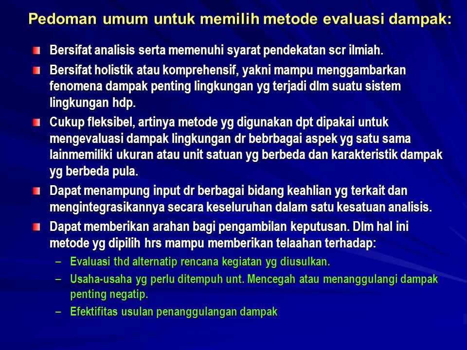 METODE EVALUASI DAMPAK 1.