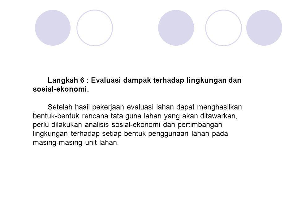 Langkah 6 : Evaluasi dampak terhadap lingkungan dan sosial-ekonomi. Setelah hasil pekerjaan evaluasi lahan dapat menghasilkan bentuk-bentuk rencana ta