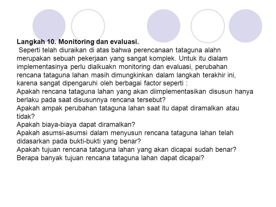 Langkah 10. Monitoring dan evaluasi. Seperti telah diuraikan di atas bahwa perencanaan tataguna alahn merupakan sebuah pekerjaan yang sangat komplek.
