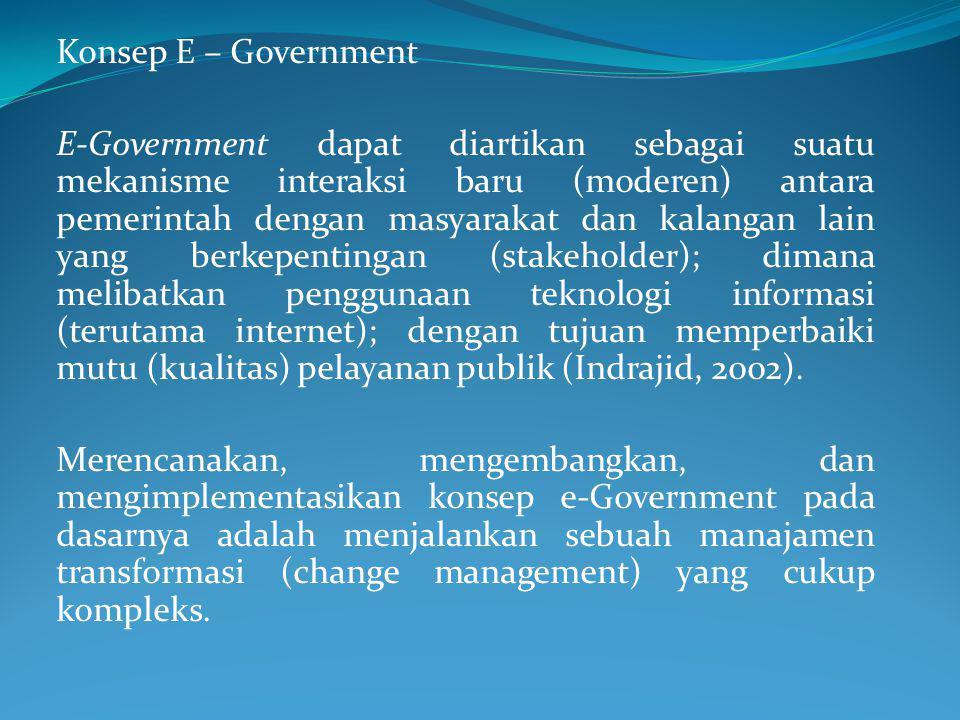 Konsep E – Government E-Government dapat diartikan sebagai suatu mekanisme interaksi baru (moderen) antara pemerintah dengan masyarakat dan kalangan lain yang berkepentingan (stakeholder); dimana melibatkan penggunaan teknologi informasi (terutama internet); dengan tujuan memperbaiki mutu (kualitas) pelayanan publik (Indrajid, 2002).