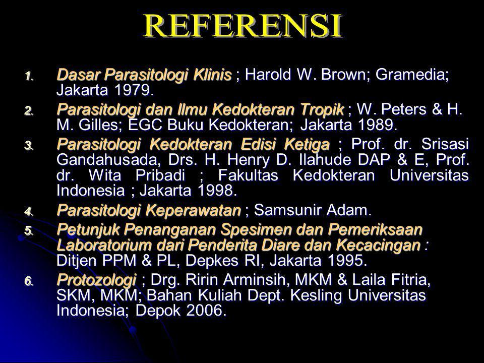 1. Dasar Parasitologi Klinis ; Harold W. Brown; Gramedia; Jakarta 1979. 2. Parasitologi dan Ilmu Kedokteran Tropik ; W. Peters & H. M. Gilles; EGC Buk