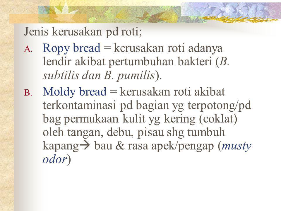 Jenis kerusakan pd roti; A. Ropy bread = kerusakan roti adanya lendir akibat pertumbuhan bakteri (B. subtilis dan B. pumilis). B. Moldy bread = kerusa