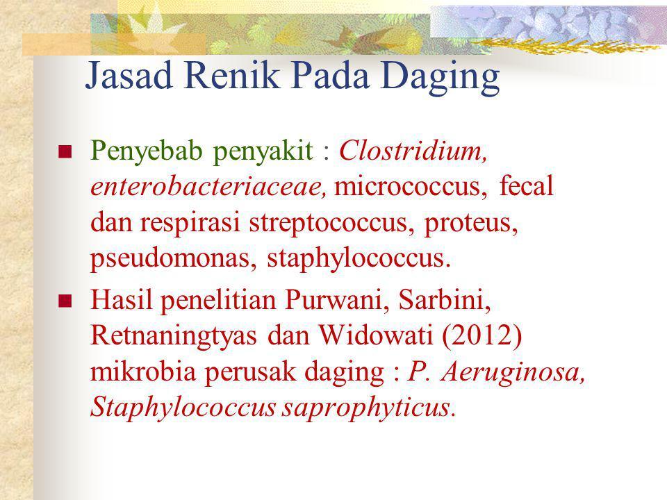 Jasad Renik Pada Daging Penyebab penyakit : Clostridium, enterobacteriaceae, micrococcus, fecal dan respirasi streptococcus, proteus, pseudomonas, sta