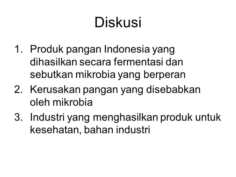 Diskusi 1.Produk pangan Indonesia yang dihasilkan secara fermentasi dan sebutkan mikrobia yang berperan 2.Kerusakan pangan yang disebabkan oleh mikrob