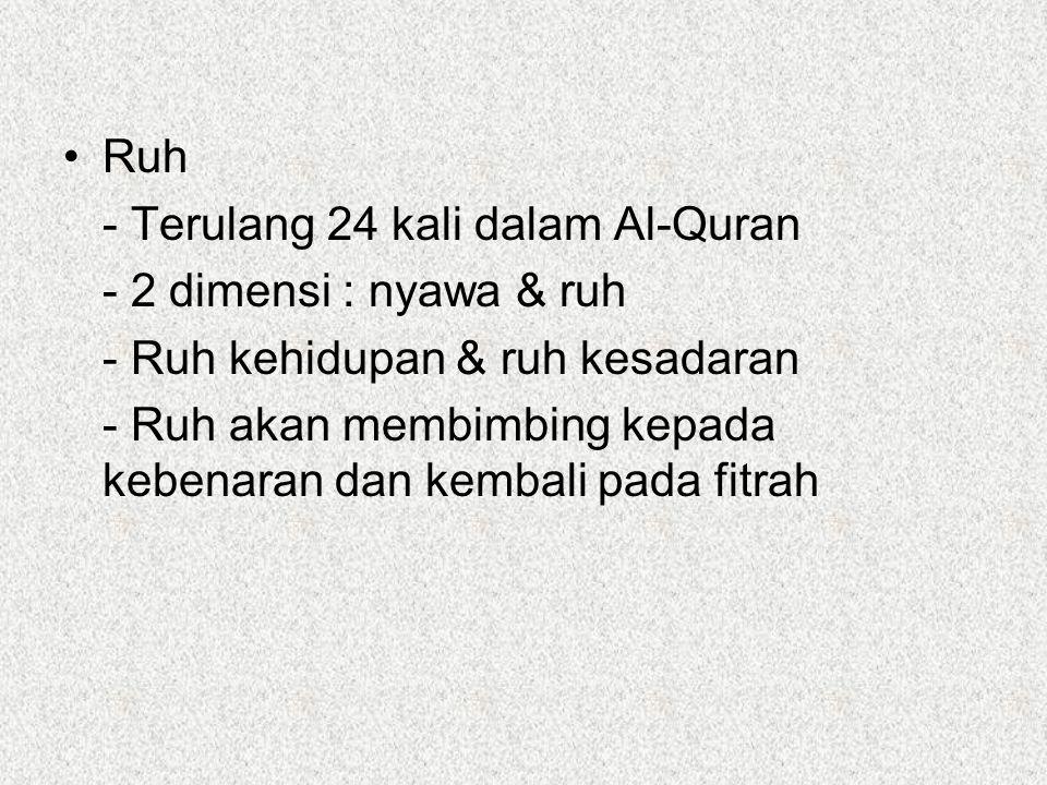 Ruh - Terulang 24 kali dalam Al-Quran - 2 dimensi : nyawa & ruh - Ruh kehidupan & ruh kesadaran - Ruh akan membimbing kepada kebenaran dan kembali pada fitrah