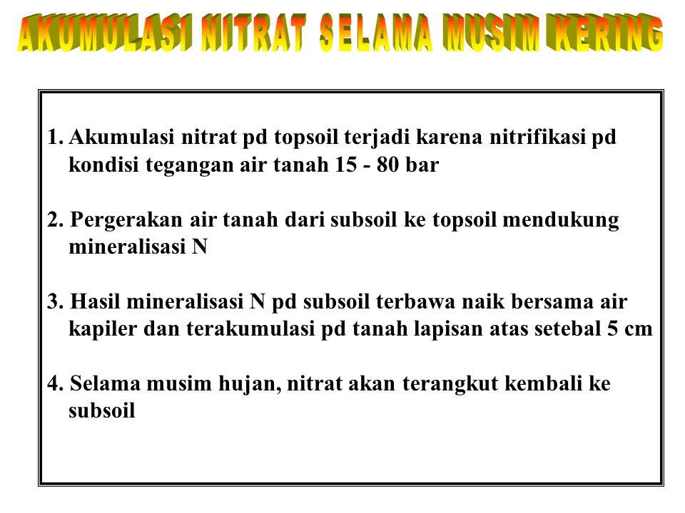 NASIB N-NITRAT TANAH N-nitrat tanah 1. Digunakan oleh jasad renik tanah (IMOBILISASI) 2. Diserap oleh akar tanaman/ tumbuhan (ABSORPSI) 3. Hilang bers