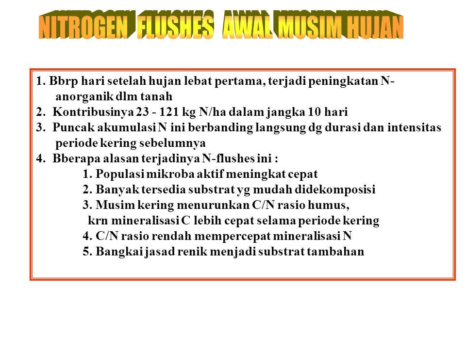 Musim HorisonPola tanam: kg N/ha sbg NO 3 - FallowJagungPasture Hujan A18 9 8 (190 mm/bl)B13 10 7 KeringA35 22 10 (38 mm/bl)B17 10 9 Sumber: Hardy (19