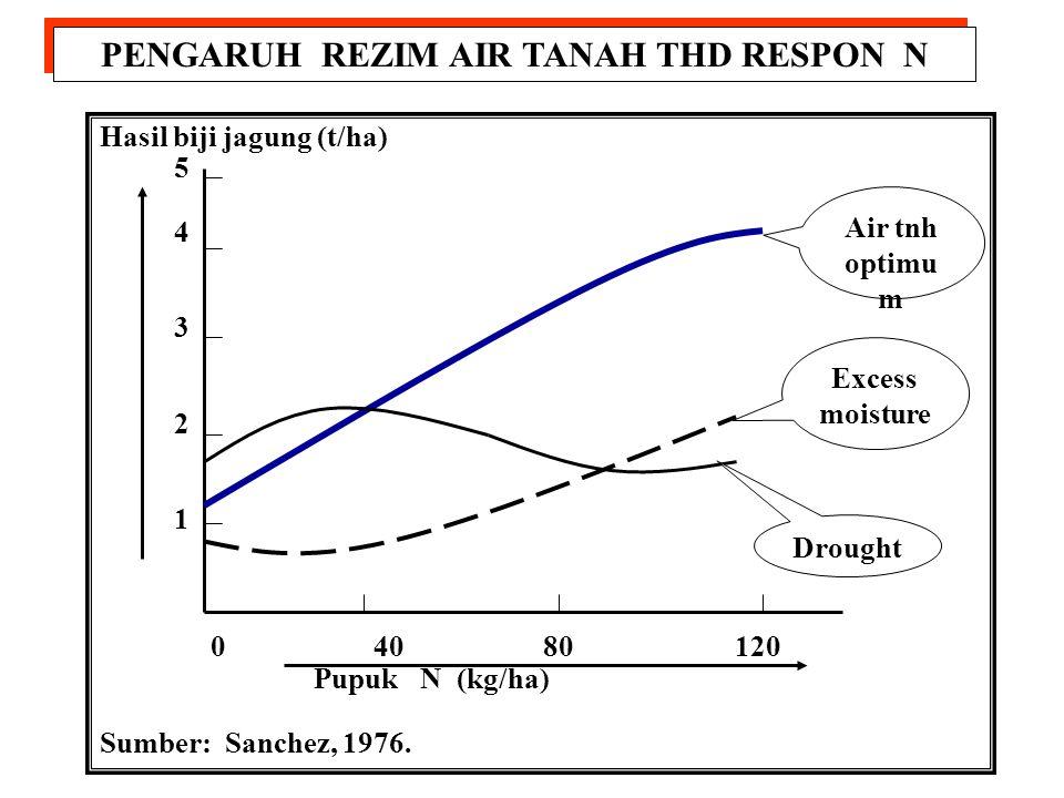 INTERAKSI RESPON N DAN POPULASI JAGUNG Hasil tongkol (t/ha) 5 4 3 2 1 20 30 40 50 60 Populasi tanaman (1000/ha) 120 N 80 N 40 N 0 N