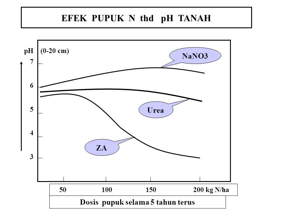 PERUBAHAN SIFAT & CIRI TANAH 1. ZA dan Urea mempunyai efek residu kemasaman: (NH4) 2 SO 4 + 4O2 ------ 2NO 3 - + 2H2O +4H + + SO 4 = CO(NH2)2 + 2 H2O