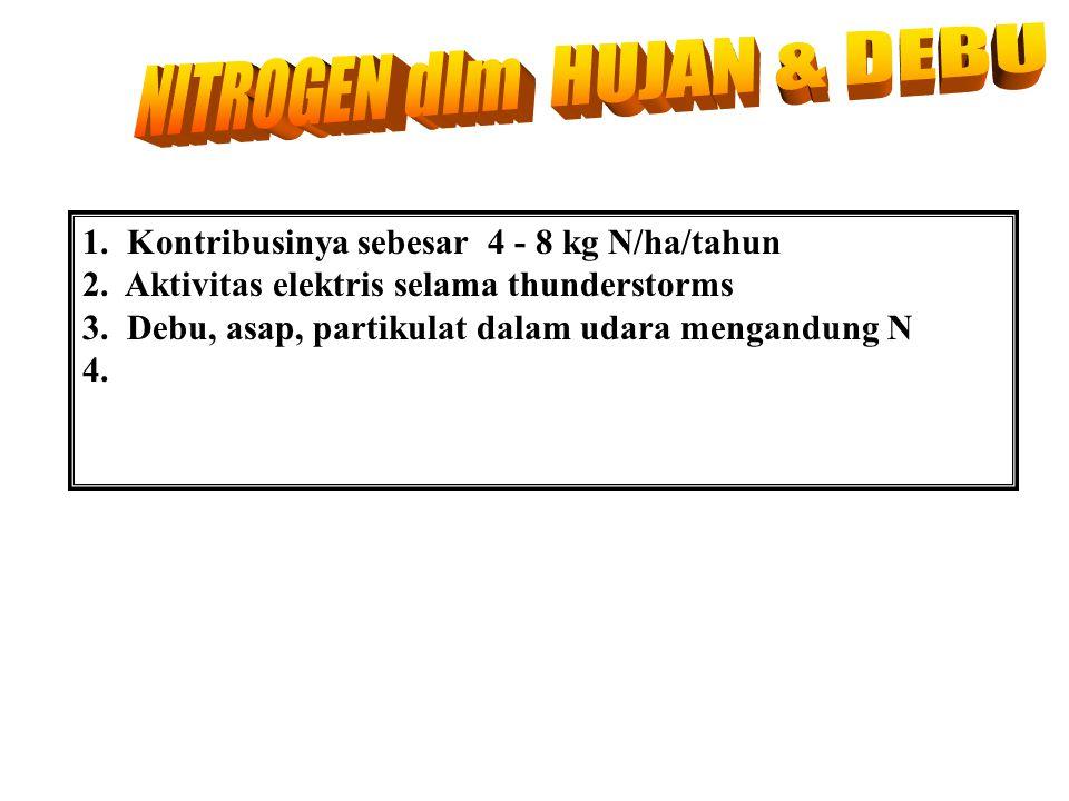 1.Kontribusinya sebesar 4 - 8 kg N/ha/tahun 2. Aktivitas elektris selama thunderstorms 3.