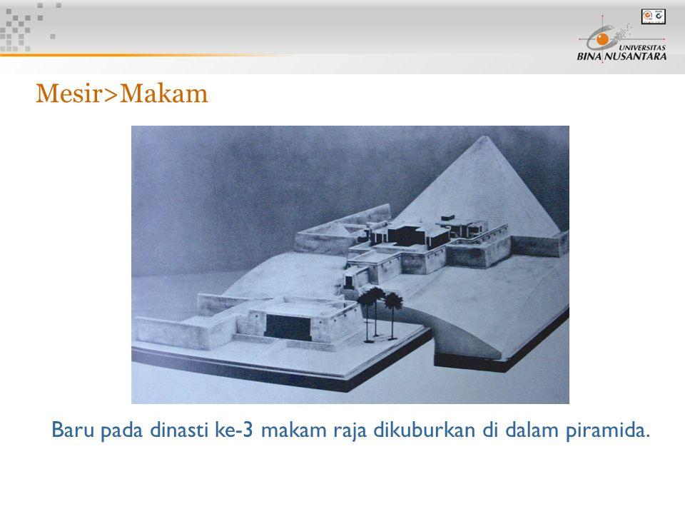 11 Mesir>Makam Baru pada dinasti ke-3 makam raja dikuburkan di dalam piramida.