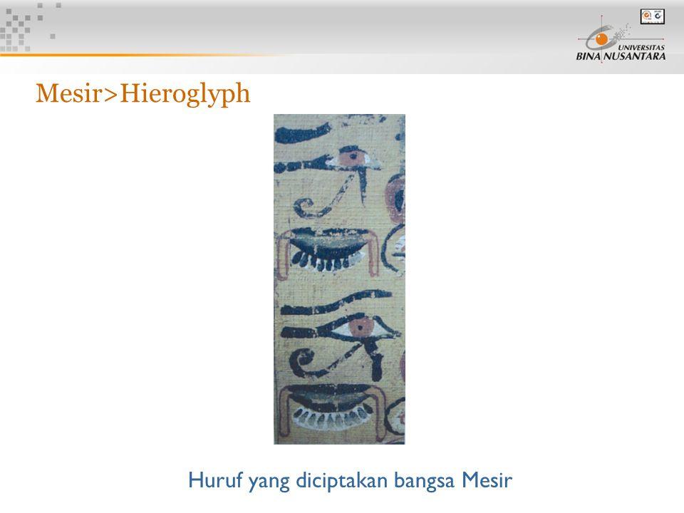 13 Huruf yang diciptakan bangsa Mesir Mesir>Hieroglyph