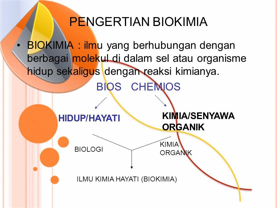 TUJUAN DAN MANFAAT ILMU BIOKIMIA TUJUAN : Menguraikan semua proses kimiawi pada sel hidup MANFAAT : Kesejahteraan manusia dan pengembangan ilmu pengetahuan Dapat dikatakan hampir semua ilmu kehidupan berhubungan dengan Biokimia.
