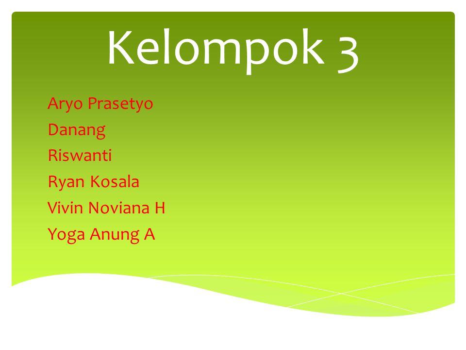 Kelompok 3 Aryo Prasetyo Danang Riswanti Ryan Kosala Vivin Noviana H Yoga Anung A