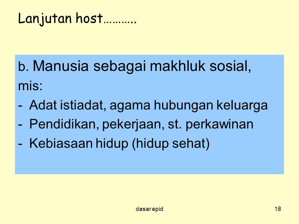 Lanjutan host……….. b. Manusia sebagai makhluk sosial, mis: -Adat istiadat, agama hubungan keluarga -Pendidikan, pekerjaan, st. perkawinan -Kebiasaan h