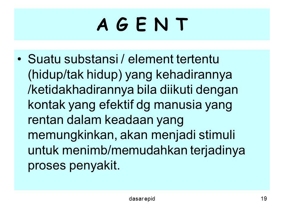 A G E N T Suatu substansi / element tertentu (hidup/tak hidup) yang kehadirannya /ketidakhadirannya bila diikuti dengan kontak yang efektif dg manusia