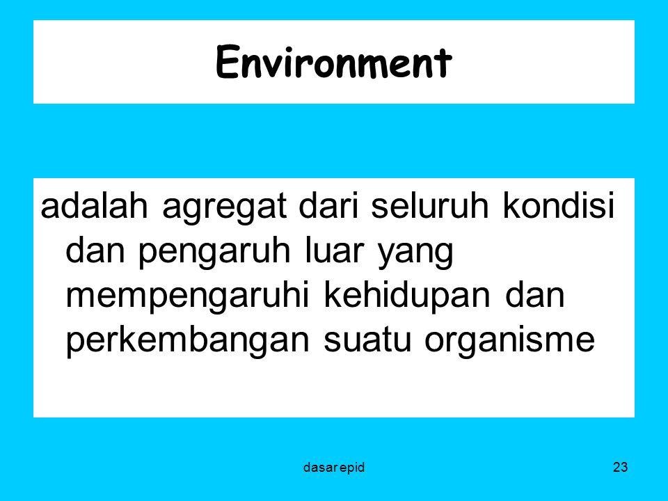 Environment adalah agregat dari seluruh kondisi dan pengaruh luar yang mempengaruhi kehidupan dan perkembangan suatu organisme 23dasar epid