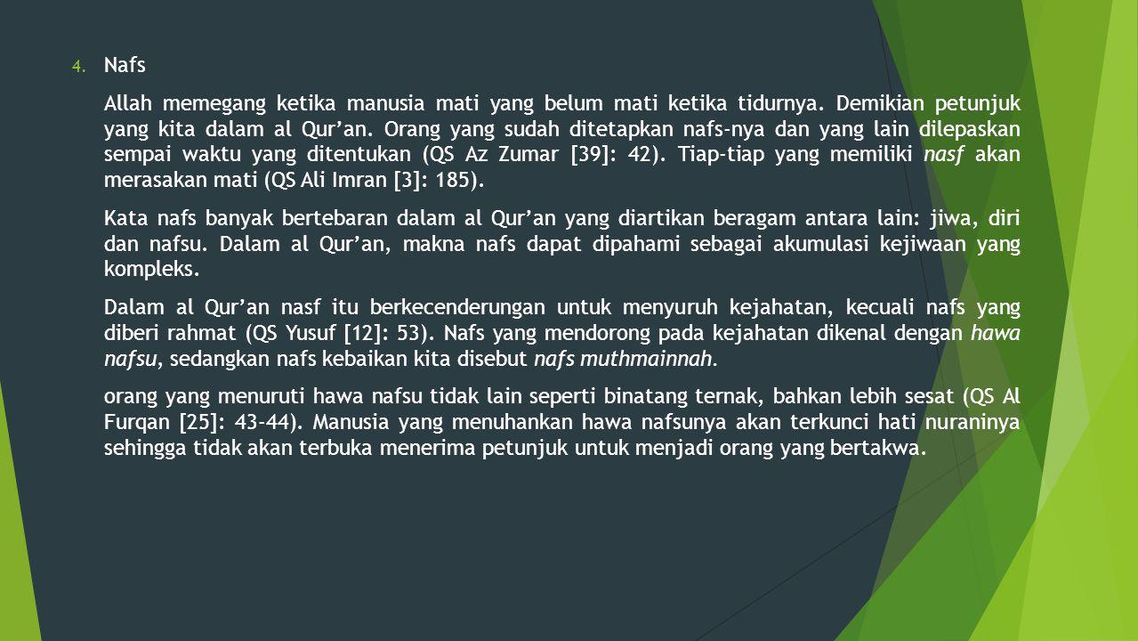 4. Nafs Allah memegang ketika manusia mati yang belum mati ketika tidurnya. Demikian petunjuk yang kita dalam al Qur'an. Orang yang sudah ditetapkan n