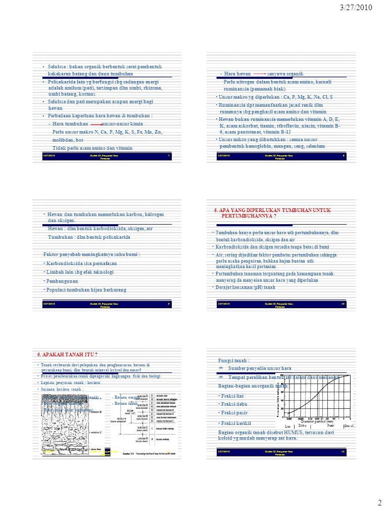 Persentase lebih halus (%) 2 3/27/2010Kuliah IX, Pengantar Ilmu Pertanian 7 3/27/2010 ▪ Selulose : bahan organik berbentuk serat pembentuk kekekaran b