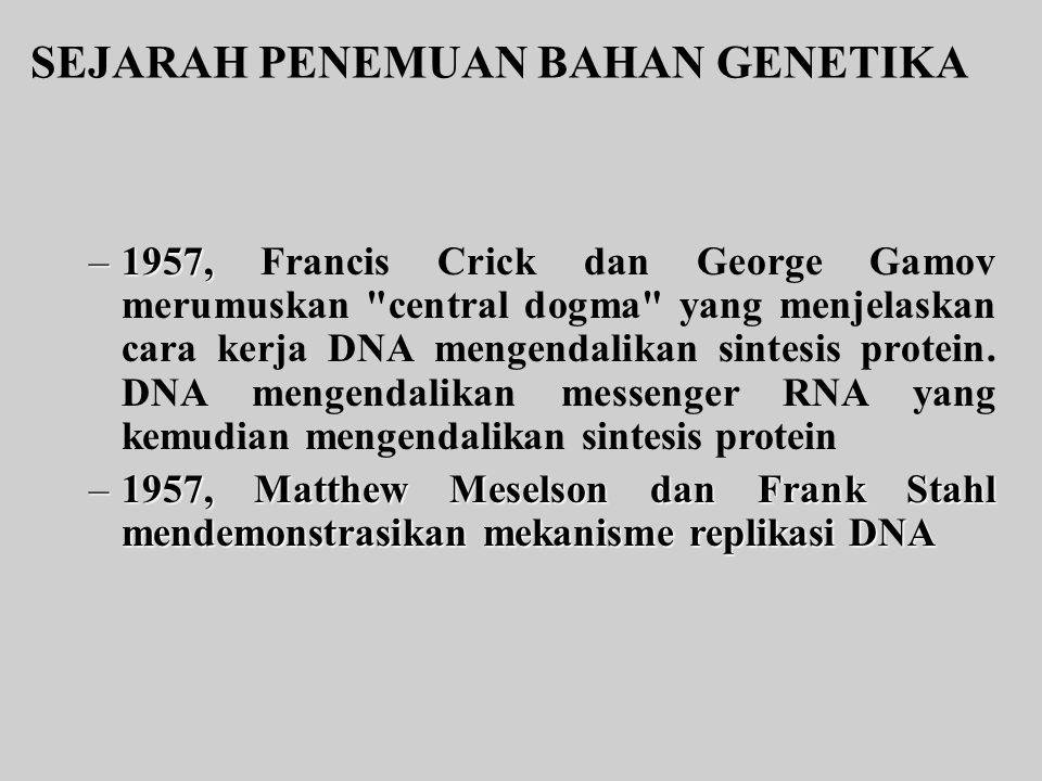 SEJARAH PENEMUAN BAHAN GENETIKA –1957, –1957, Francis Crick dan George Gamov merumuskan central dogma yang menjelaskan cara kerja DNA mengendalikan sintesis protein.