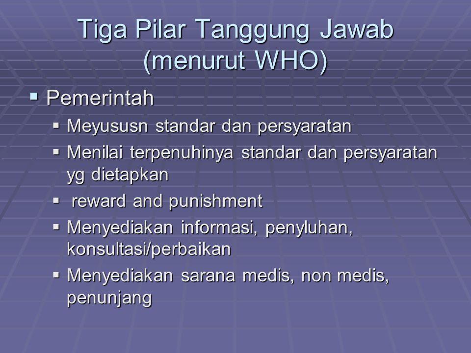 Tiga Pilar Tanggung Jawab (menurut WHO)  Pemerintah  Meyususn standar dan persyaratan  Menilai terpenuhinya standar dan persyaratan yg dietapkan 
