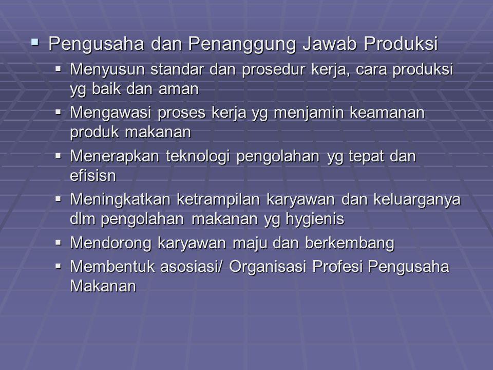  Pengusaha dan Penanggung Jawab Produksi  Menyusun standar dan prosedur kerja, cara produksi yg baik dan aman  Mengawasi proses kerja yg menjamin k
