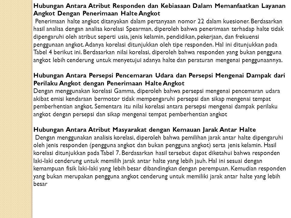 KESIMPULAN Dari hasil pengumpulan data dan analisis diperoleh bahwa masyarakat kota Bandung yang belum sepenuhnya menyadari bahwa angkot merupakan sumber emisi terbesar di kota Bandung akibat dari jumlah yang besar dan frekuensi akselerasi, deselerasi dan berhenti yang tinggi.