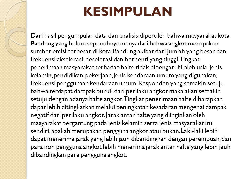 KESIMPULAN Dari hasil pengumpulan data dan analisis diperoleh bahwa masyarakat kota Bandung yang belum sepenuhnya menyadari bahwa angkot merupakan sum