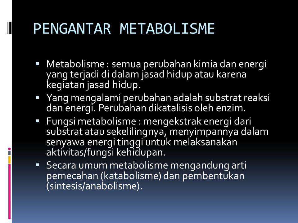 PENGANTAR METABOLISME  Metabolisme : semua perubahan kimia dan energi yang terjadi di dalam jasad hidup atau karena kegiatan jasad hidup.  Yang meng