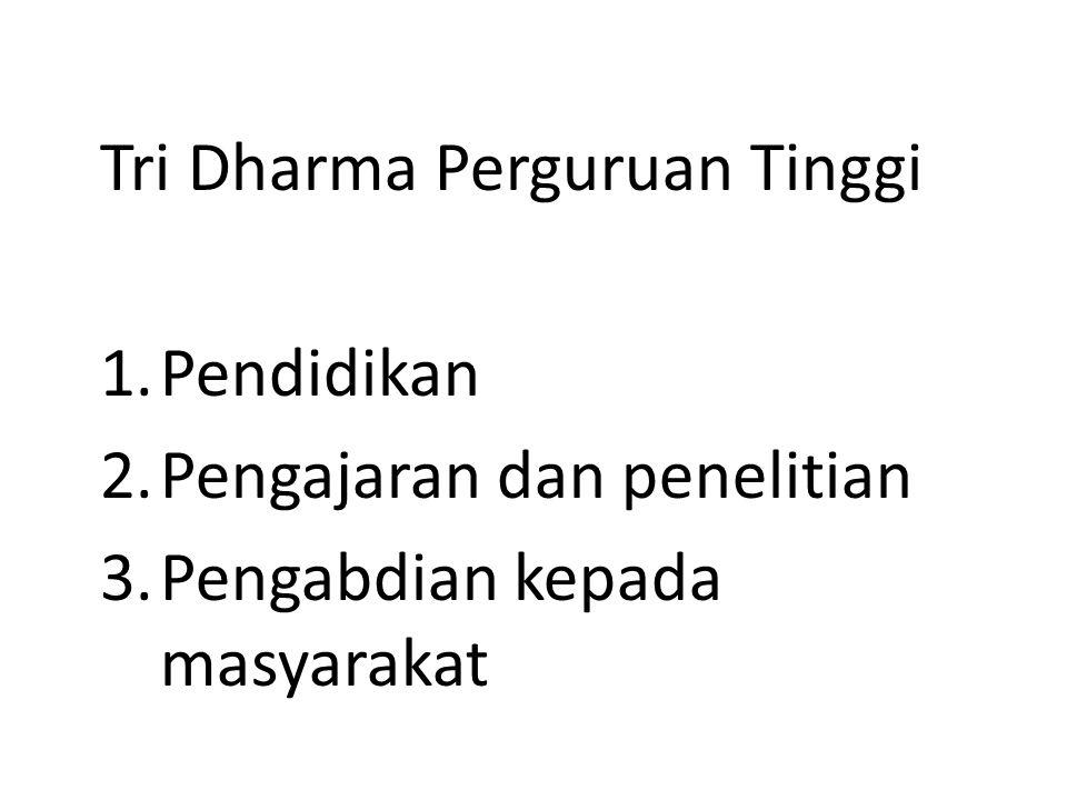 Tri Dharma Perguruan Tinggi 1.Pendidikan 2.Pengajaran dan penelitian 3.Pengabdian kepada masyarakat