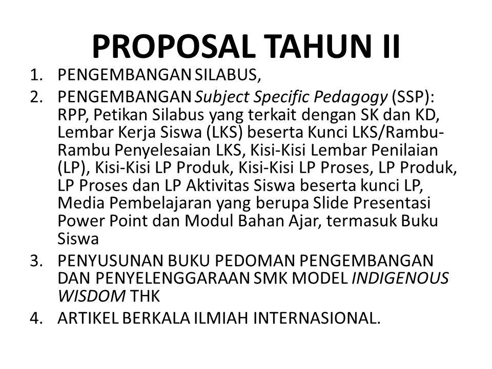 PROPOSAL TAHUN II 1.PENGEMBANGAN SILABUS, 2.PENGEMBANGAN Subject Specific Pedagogy (SSP): RPP, Petikan Silabus yang terkait dengan SK dan KD, Lembar K