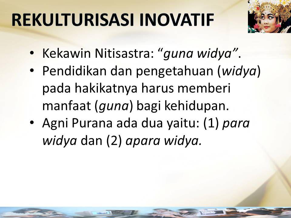 """Kekawin Nitisastra: """"guna widya"""". Pendidikan dan pengetahuan (widya) pada hakikatnya harus memberi manfaat (guna) bagi kehidupan. Agni Purana ada dua"""