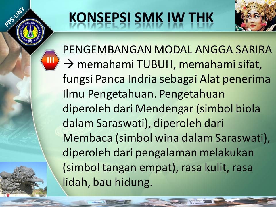 PPS-UNY III PENGEMBANGAN MODAL ANGGA SARIRA  memahami TUBUH, memahami sifat, fungsi Panca Indria sebagai Alat penerima Ilmu Pengetahuan.