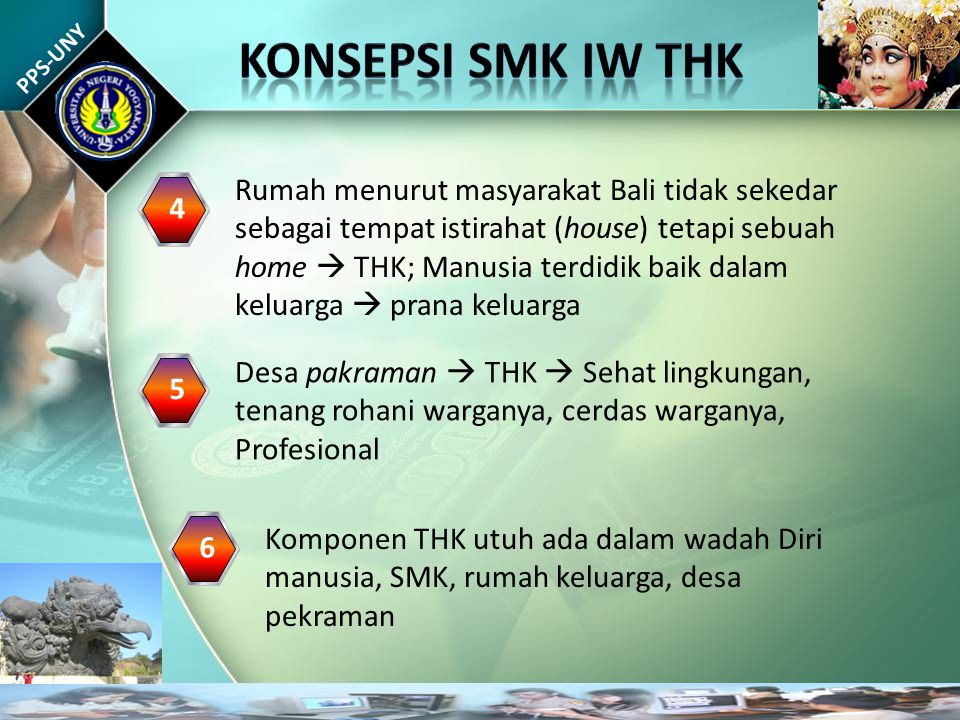 PPS-UNY Rumah menurut masyarakat Bali tidak sekedar sebagai tempat istirahat (house) tetapi sebuah home  THK; Manusia terdidik baik dalam keluarga  prana keluarga 4 Desa pakraman  THK  Sehat lingkungan, tenang rohani warganya, cerdas warganya, Profesional 5 Komponen THK utuh ada dalam wadah Diri manusia, SMK, rumah keluarga, desa pekraman 6
