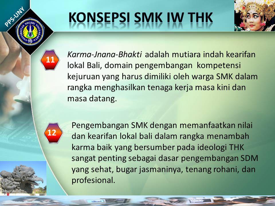 PPS-UNY Karma-Jnana-Bhakti adalah mutiara indah kearifan lokal Bali, domain pengembangan kompetensi kejuruan yang harus dimiliki oleh warga SMK dalam rangka menghasilkan tenaga kerja masa kini dan masa datang.
