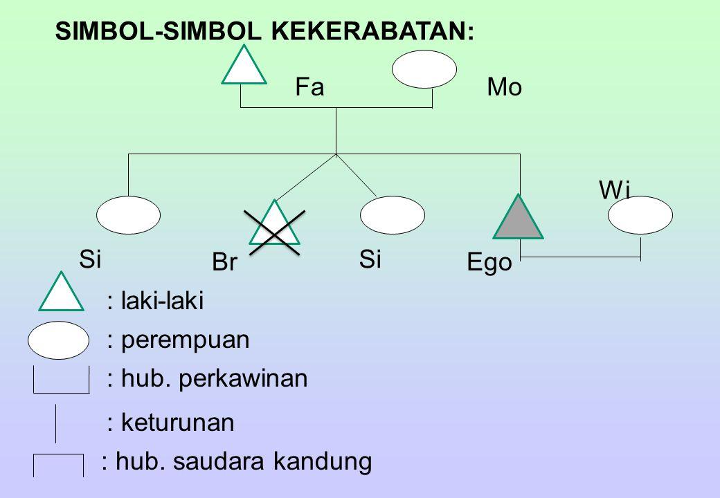 SIMBOL-SIMBOL KEKERABATAN: FaMo Si Br Si Wi Ego : laki-laki : perempuan : hub. perkawinan : keturunan : hub. saudara kandung