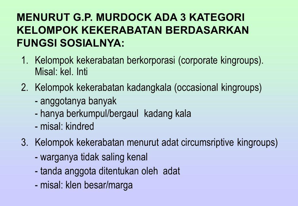 MENURUT G.P. MURDOCK ADA 3 KATEGORI KELOMPOK KEKERABATAN BERDASARKAN FUNGSI SOSIALNYA: 1.Kelompok kekerabatan berkorporasi (corporate kingroups). Misa