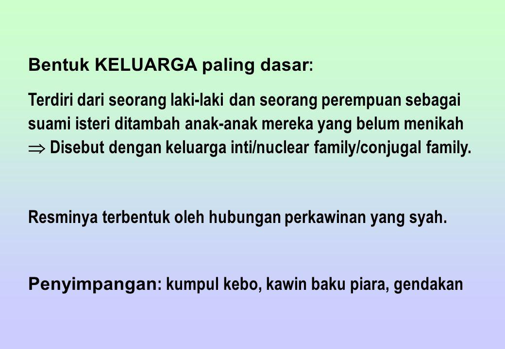 Bentuk KELUARGA paling dasar : Terdiri dari seorang laki-laki dan seorang perempuan sebagai suami isteri ditambah anak-anak mereka yang belum menikah