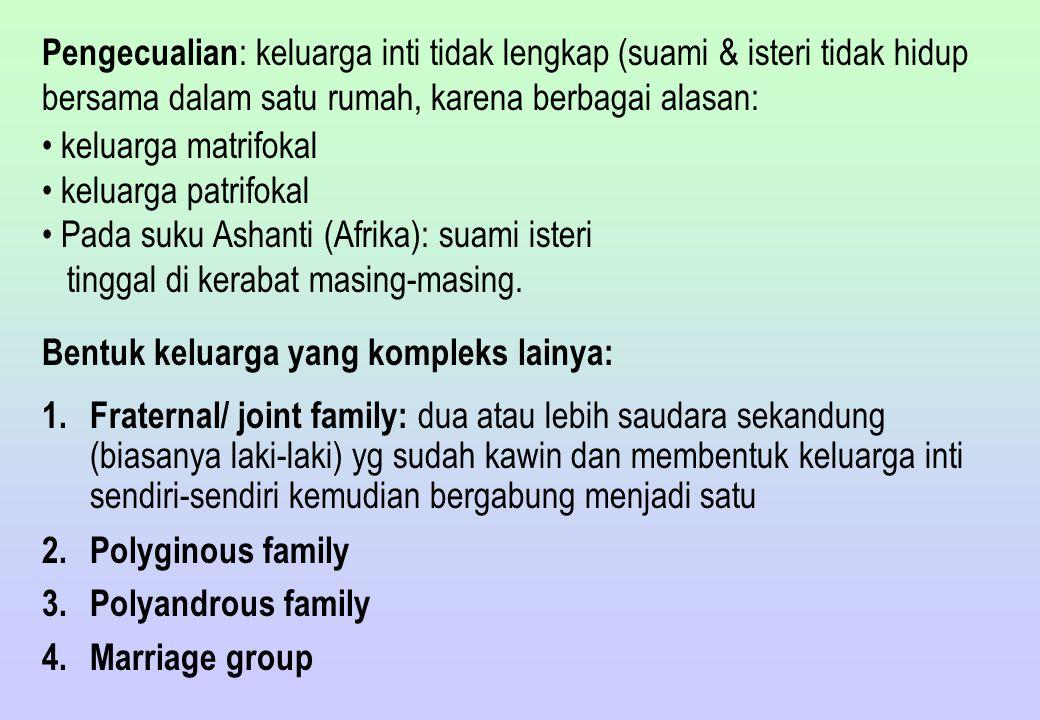 Fungsi Keluarga: 1.Reproduksi 2.Sosialisasi 3.Ekonomi (produksi, distribusi dan konsumsi) 4.Pengaturan kehidupan seksual 5.Proteksi/ perlindungan yang menjamin keamanan dan keselamatan