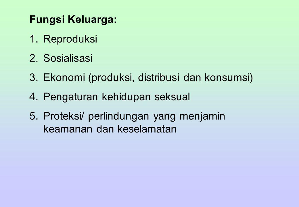 Fungsi Keluarga: 1.Reproduksi 2.Sosialisasi 3.Ekonomi (produksi, distribusi dan konsumsi) 4.Pengaturan kehidupan seksual 5.Proteksi/ perlindungan yang