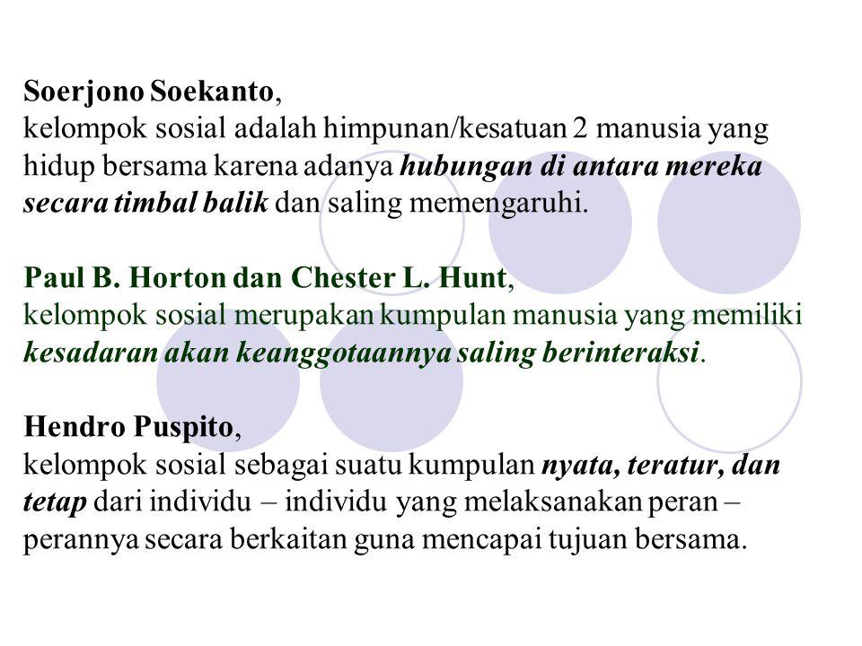 Syarat – syarat kelompok sosial Soerjono Soekanto menyebutkan syarat – syarat terbentuknya kelompok sosial sebagai berikut : 1.
